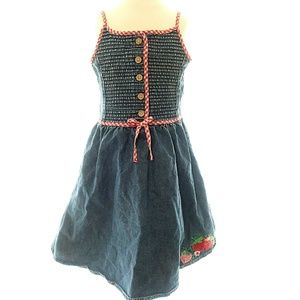 Gymboree 4 Girls Dress Chambray Red Plaid Embroide